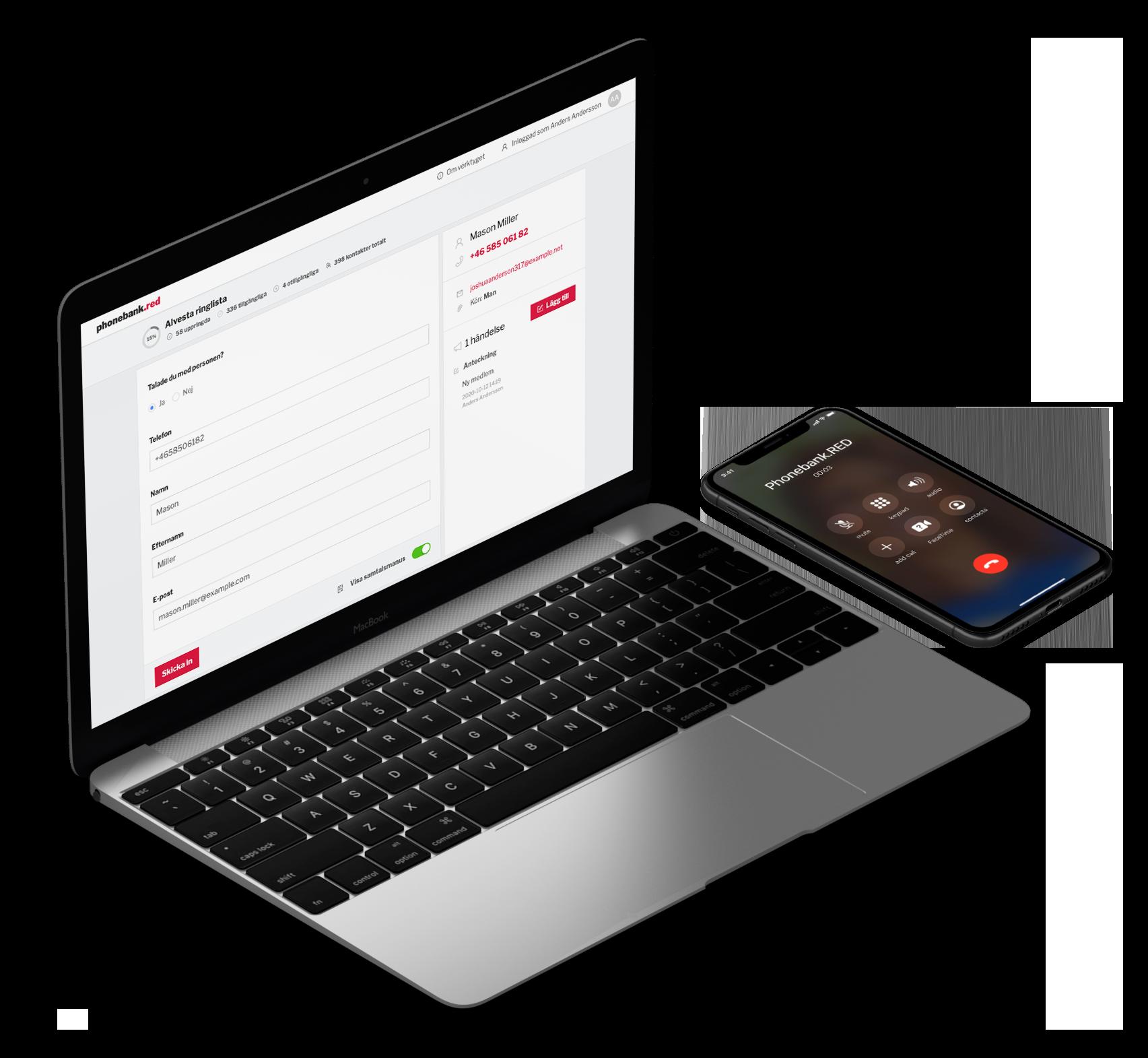Laptop och telefon med Phonebank.RED